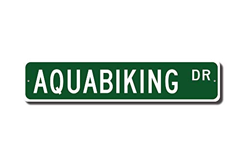 qidushop Aquabiking Geschenk Aquabiking Schild Aquabiking Fan Unterwasser Spinning Biking Lover Street Sign Funny Words Blechschild Geschenk