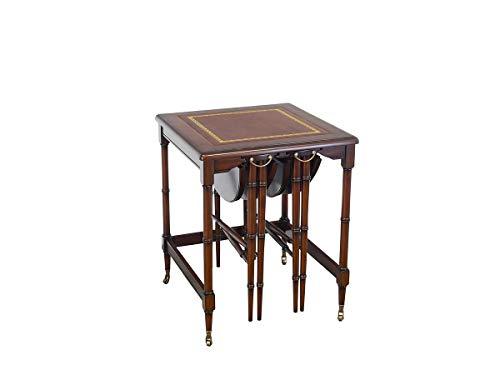 Antike Fundgrube Beistelltisch englischer Stil Mahagoni 3 in 1 Gemeinschaftstisch | Tisch Abstelltische | auf Rollen | B: 48/52 cm (327)