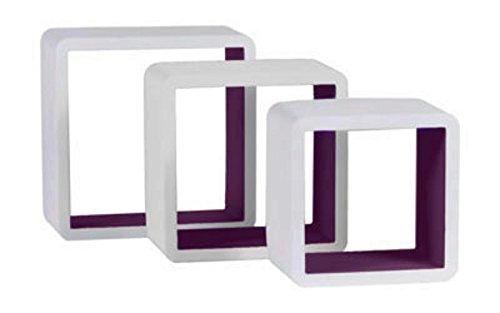 les colis noirs lcn Kit de 3 Etagere Murale Carree Blanc Prune - Déco Rangement Maison - 939