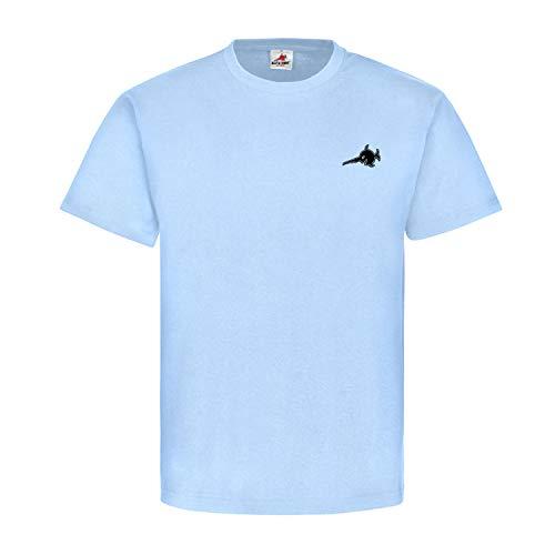 Schwertfisch Logo klein Sägefisch U-Boot 96 Wappen Abzeichen Alfashirt Taucher Hemd lachender Fisch T-Shirt #21749, Größe:L, Farbe:Hellblau