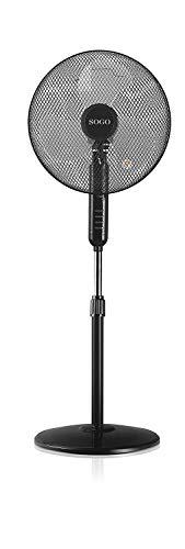 Sogo: SS-21210 Ventilador de Pie, Oscilante con 3 Velocidades, 40cm Diámetro, 45W, Clase A de energía eficiente, Bajo Ruido y Altura adjustable, color: Negro, Metálico.