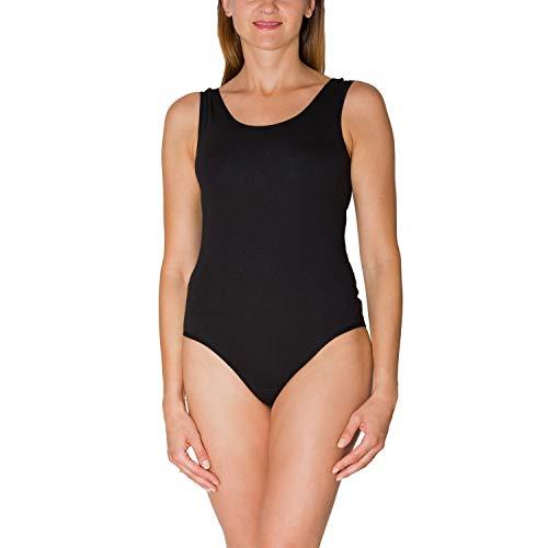 Alkato Damen Body mit Breiten Trägern L015, Farbe: Schwarz, Größe: 40