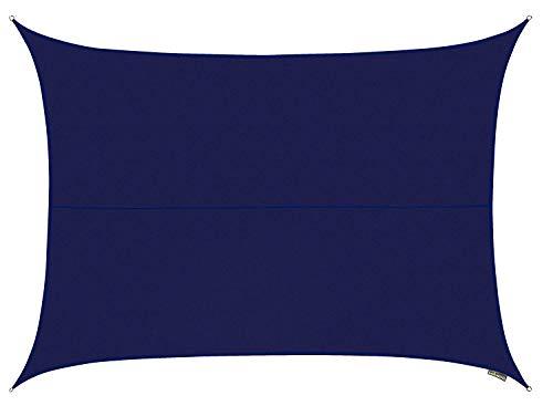 Kookaburra Waterproof Blue Sun Shade Sail Garden Patio Gazebo Awning Canopy 98% UV Block with Free Rope (13ft 1' x 9ft 10' Rectangle)