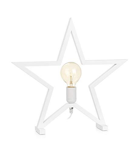 Marta - Decoración para Mesa (Madera), diseño de Estrella, Color Blanco