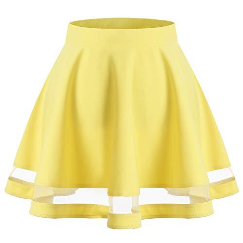 Wedtrend Mini Falda Básico Color Sólido con Elástica Casual Mujer Amarillo S