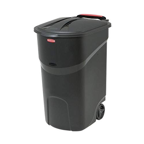 Home & Comforts 45 Gallon Black Trash can with lid Trash can with Wheels Trash can Outdoor Plastic Trash can with lid Kitchen Outdoor Trash can for Patio Camping with Wheels.