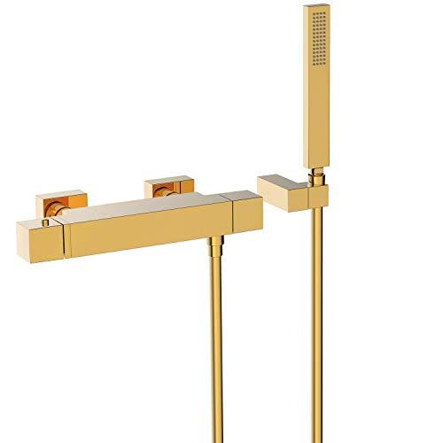 Ducha termostática Slim Colors con ducha de mano anticalcárea con soporte orientable y flexo satin, volante, 12 x 32 x 6 centímetros, color oro (Referencia: 20216409OR)