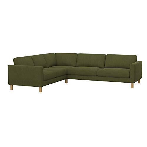 Soferia Funda de Repuesto para IKEA KARLSTAD sofá Esquina 2+3/3+2, Tela Majestic Velvet Khaki, Verde