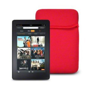 """6"""" Red Soft Neoprene Sleeve for Kindle 4, Touch 3G, Amazon Kindle 6"""" Wireless Reader, Samsung Galaxy Tab P1000, Sony PRS Digital Reader Pocket Edition, Universal eBook Reader with 6"""" Screen by King of Flash"""