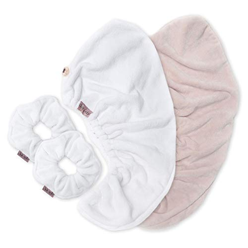 Kitsch Ultra Soft Microfiber Scrunchies and Microfiber Hair Towel Wrap Cleanse Bundle (White, Blush)