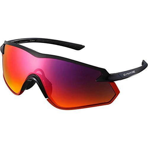 SHIMANO SPHX1 PL S-Phyre Polarized Cycling Glasses, Matte Metallic White/Optimal PL Red MLC