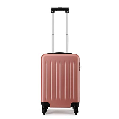Kono Children's Luggage Kids Suitcases On Wheels 48x30x20 cm 27L Cabin Approved Hand Luggage (XS (48cm-27L), Nude)