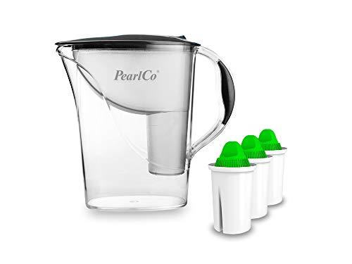 PearlCo - Wasserfilter Standard (anthrazit) mit 3 Alkaline classic Filterkartuschen (Basisches Wasser) - passt zu Brita Classic