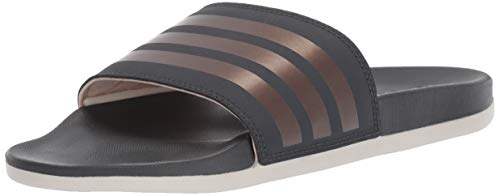 adidas Women's Adilette Comfort Swim Shoe, Grey/Copper Metallic, 8 M US