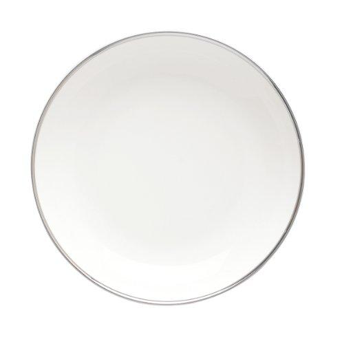 DEGRENNE - Galon Platine Lot de 6 assiettes creuse calotte ronde porcelaine 19 cm - Blanc