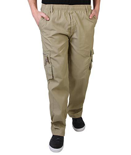 KRISP Männer Praktische Cargohose Gummizug Seitliche Taschen (Beige, Gr.XXX-L) (7918-STN-XXXL)