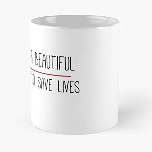 It's A Beautiful Day To Save Lives Grey'S Quote - La Meilleure Tasse À Café En Céramique De Marbre Blanc De 11Oz ! ! Personnaliser
