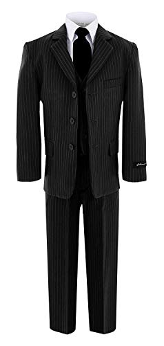 Johnnie Lene JL5014 Pinstripe Black Suit W/Black Tie for Boys from Baby to Teen (14)