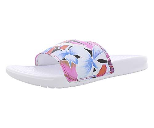 Nike Wmns Benassi JDI Print, Zapatos de Playa y Piscina Mujer, Multicolor (White/Habanero/Ember Glow/Game Royal 113), 36.5 EU