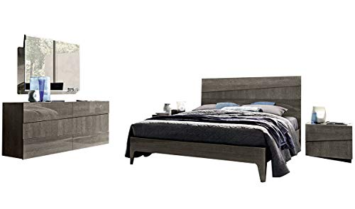 Best Deals! Tekno Contemporary King Bedroom Set in Silver Birch, 5-Piece