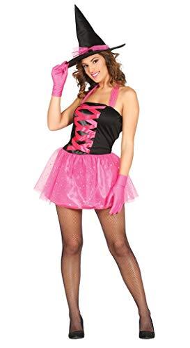 Pinke Hexen Kostüm mit Hexenhut für Damen Hexen Kleid Tutu Hut Halloween Hexenkostüm Gr. M - L, Größe:S