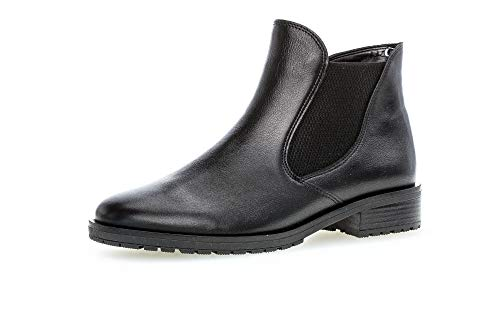 Gabor Damen Stiefeletten, Frauen Chelsea Boots,Comfort-Mehrweite,Reißverschluss,Optifit- Wechselfußbett, Stiefel Lady,schwarz (Micro),37 EU / 4 UK