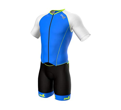 Sparx Mens Elite Aerosuit Triathlon Suit Mens Short Sleeve Tri Suit Skinsuit (2XL) Blue