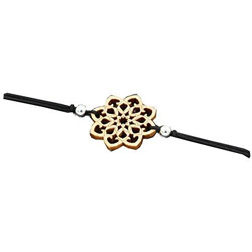Eydl Wood Jewelry Holz Armband Mandala aus Ahornholz. Armband ist größenverstellbar in schwarz. Feinste Handarbeit aus Österreich.