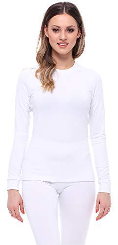Ladeheid Camiseta Térmica Mujer LA40-148(Blanco, M)