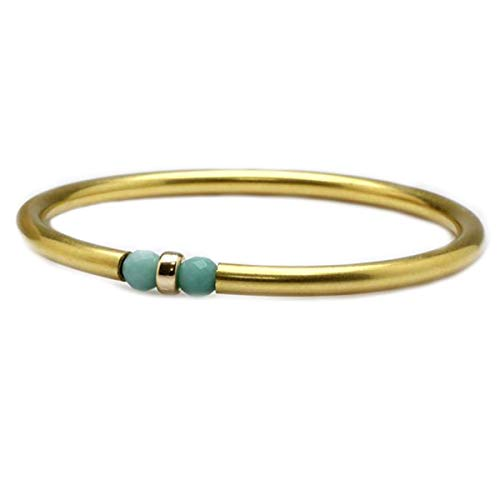 JewelryGift Aqua Chalcedony Beaded Aqua Gemstone Bangle 18k Gold Plated Beautiful Bracelets for Girls and Womens 2.62