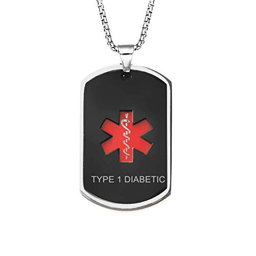 LiFashion LF Mens Stainless Steel Type 1 Diabetic Medical Alert Necklaces Black Medical Emergency Dog Tag Pendant Heart Alert Jewelry Monitoring...