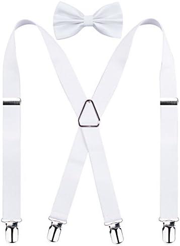 Men s X Back Suspender and Bow Tie Set Elastic Adjustable Braces White product image
