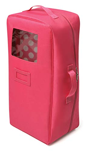 Badger Basket Doll Travel Case with Bed and Bedding - Dark Pink (fits 18' Dolls)