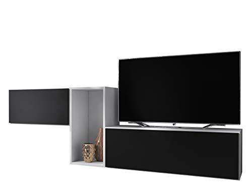 Mirjan24 Wohnzimmer-Set Robin XI, Anbauwand, Farbauswahl, grifflosem Öffnen, Wohnzimmer, Schrankwand, Wohnzimmerschrank, Hängeschrank, TV-Lowboard (Weiß/Schwarz)