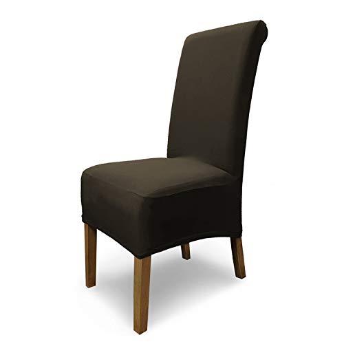 SCHEFFLER-Home Stretch Stuhlhusse Emma / 6er Set elastische Stuhlabdeckungen aus Baumwolle / Stuhlhussen Schwingstühle / Spannbezug mit Gummiband / Elegante Stuhlbezüge
