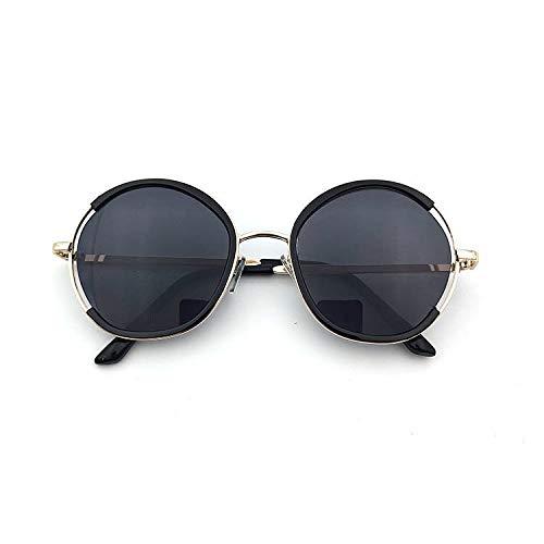 xingxing Gafas de sol para niños con marco redondo para niños y niñas, gafas de sol de metal, protección UV (lentes de color: negro)