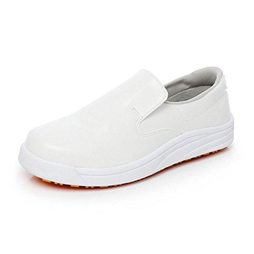 Levoberg Chaussure de Cuisine Protection d'eau et d'huile Chaussure de Travail Antidérapant Chaussure de Sécurité pour Homme Femme 40 Blanche
