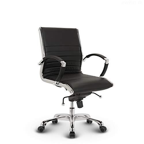VERSEE Design Bürostuhl Montreal - Echt-Leder - schwarz - Konferenzstuhl, Meetingstuhl, Drehstuhl, Bürodrehstuhl, Schreibtischstuhl, Designklassiker, hochwertige Verarbeitung, 150 kg belastbarkeit