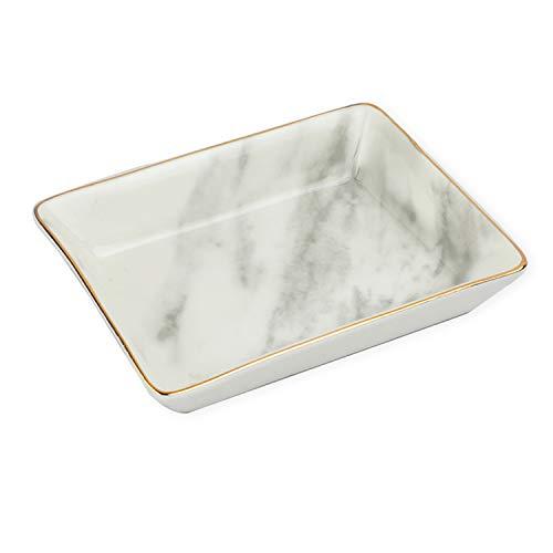 Marble Ceramic Plate Jewelry Dish Trinket Tray Ring Key Tray Small Ring Holder Organizer Porcelain Home Decor Wedding, Couples, Anniversary, Graduation, Mom, Sister Friend Xmas Birthday Gift (White)