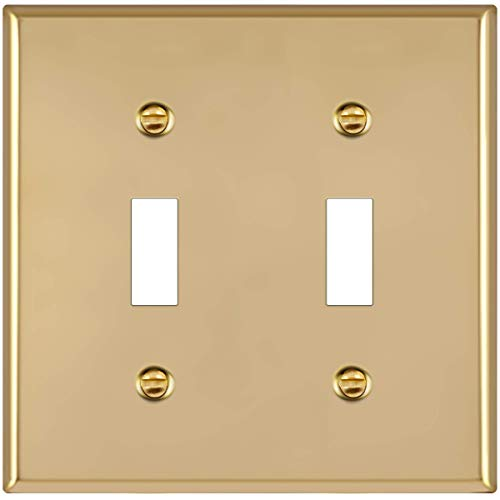 ENERLITES Toggle Light Switch Metal Wall Plate, Stainless Steel, Corrosion Resistant, Size 2-Gang 4.50\' x 4.57\', UL Listed, 7712-PB, 302 Polished Brass, Gold