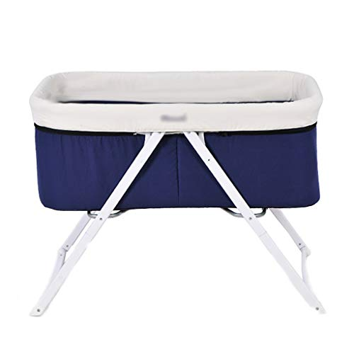 Babybett Babybett Multifunktions Aluminiumlegierung Kinderbett Bett europäischen Stil faltbar (Farbe : Blau, größe : 90 * 56 * 70cm)