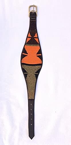 Collar Perro Grande Cuero Auténtico y Abalorios. Artesanía Tribu Masai, Kenia. Ultra Resistente. Galgos, Podencos Grandes, Caniches Gigantes