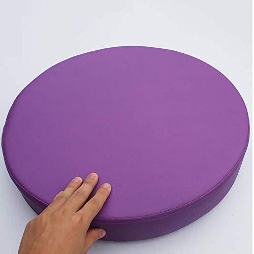 LNHJZ Cojín Asiento Cuero sintético Grueso, Redondo, un Solo Color, cojín Asiento Impermeable, funespuma viscoelástica, puf extraíble Antideslizante, Violeta, 45 x 45 x 5 cm (18 x 18 x 2 Pulgadas)