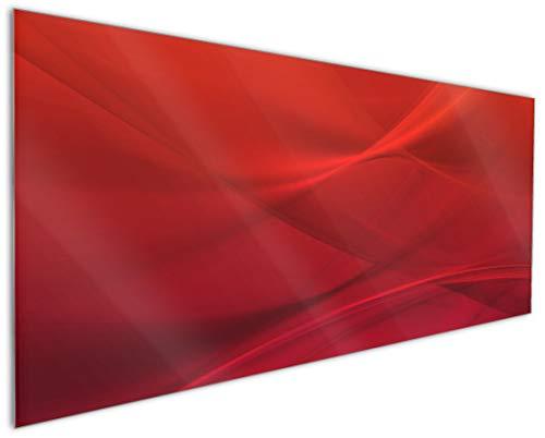 Wallario Küchenrückwand aus Glas, in Premium Qualität, Motiv: Abstrakte rotes Muster - roter Stoff | Spritzschutz | abwischbar | pflegeleicht