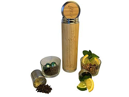 TheWolff Trinkflasche Bambus, Trinkflasche Edelstahl, Thermosflasche, Teekanne, Teeflasche mit Sieb, Thermobecher, Kaffeebecher to go, Coffee to go Becher, Isolierflasche, Thermoskanne, Isolierbecher