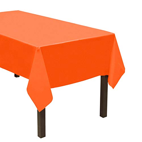 Party Essentials Heavy Duty Plastic Table Cover Available in 44 Colors, 54' x 108', Neon Orange