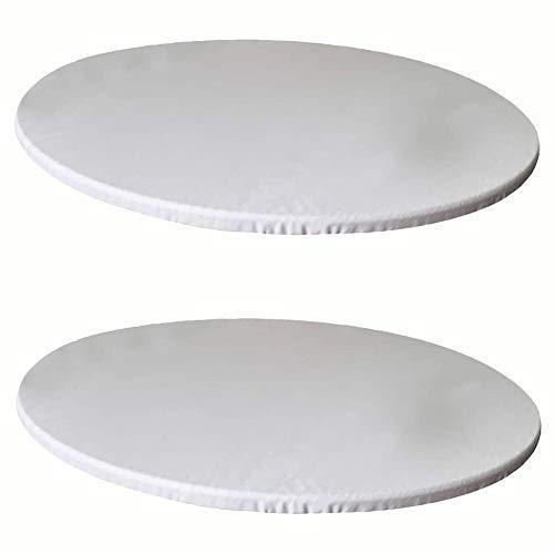 KYJSW 2 manteles redondos de poliéster elástico, lavable y resistente a la suciedad y antideslizante (blanco + blanco, 90 cm)