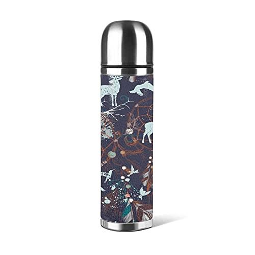 Botella de agua reutilizable de 500 ml, diseño retro de pluma de alce, de acero inoxidable, a prueba de fugas, aislada al vacío, doble pared, mantiene 24 horas frías, 12 horas calientes
