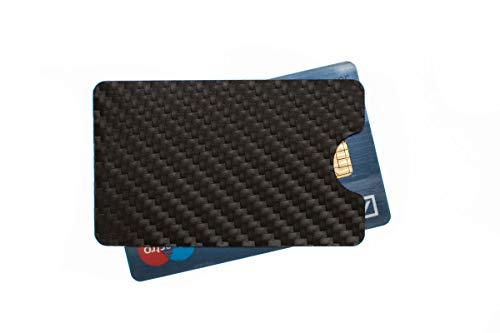 RFID & NFC Schutzhülle EC Karten, Geldkarten, Ausweis, Bankkarten - Aluminium Carbondesign schwarz - hochkant