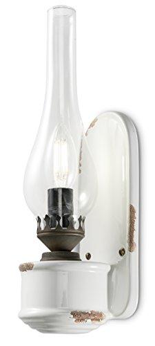 ferroluce Retro Wandleuchte mit Glas canfino E14, weiß